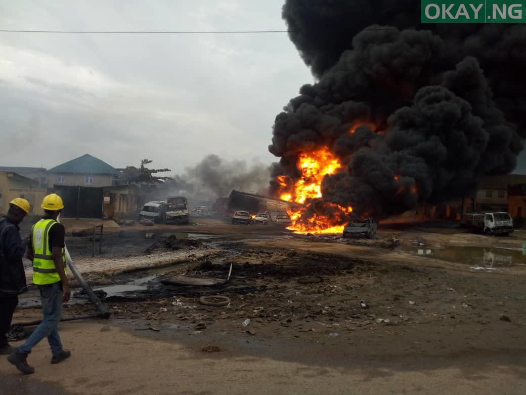 Ijegun okay ng 1 - Pipeline explosion kills two, 20 cars gutted in Ijegun, Lagos [Photos]