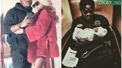 Olamide, his partner and new born baby