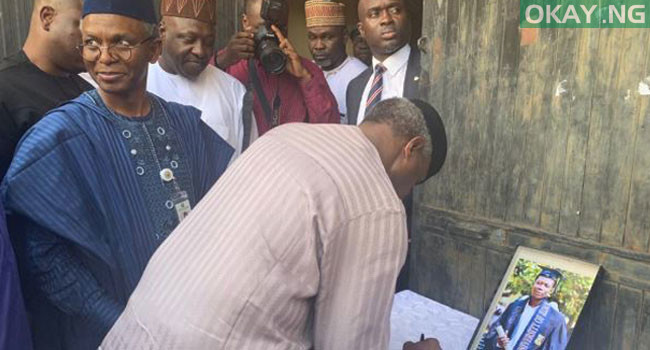 Photo of Osinbajo visits parents of reporter killed during Shiites clash with Police [Photos]