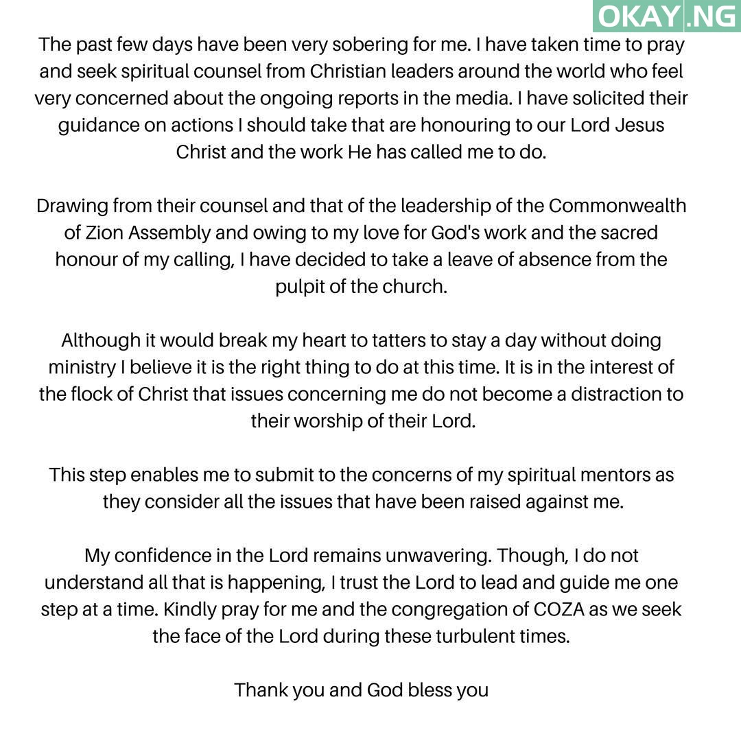 Rape Biodun Fatoyinbo Okay ng - Rape Allegations: COZA pastor Biodun Fatoyinbo finally steps down