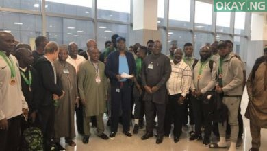 Super Eagles received at the airport