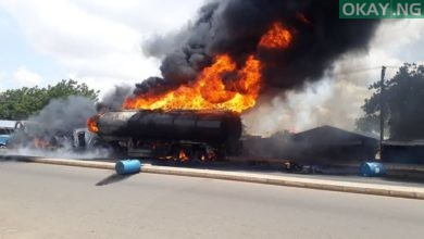 Tanker flames Gombe Okay ng 1 390x220 - Petrol Tanker bursts into flames in Gombe [Photos, Video]