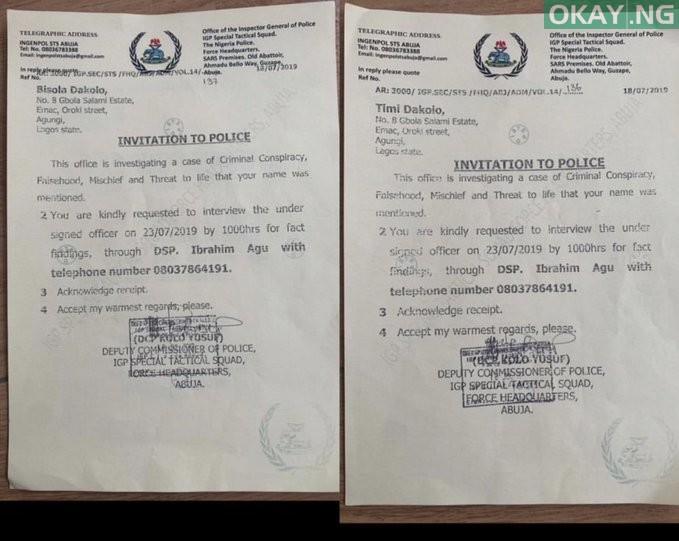 The Dakolos Invitation Okay ng - Alleged falsehood: Police summon Timi, Busola Dakolo for questioning
