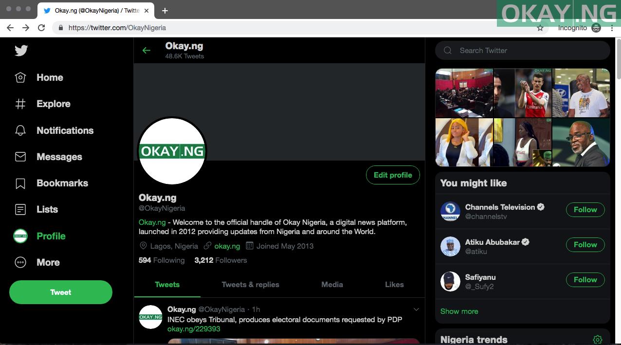 The new Twitter interface in dark mode (@OkayNigeria)