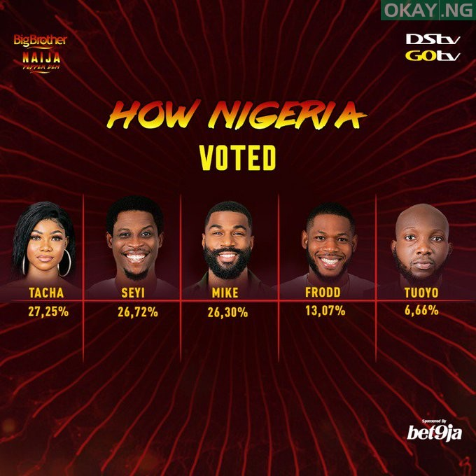percentage votes Okay ng - #BBNaija 2019: How fans voted for their favourite housemates [See Results]