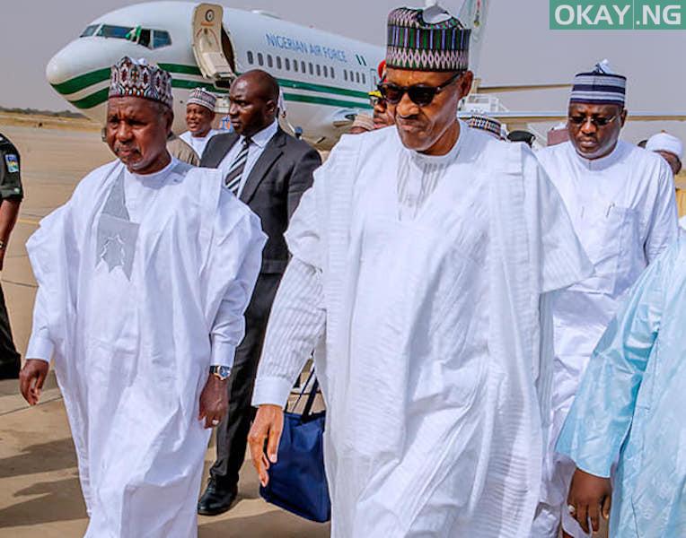 Buhari Masari Okay ng - Eid-el-Kabir: Buhari lands in Katsina enroute to Daura