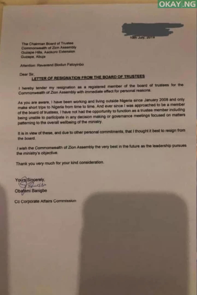 COZA 1 - COZA Board of Trustees member tenders resignation letter to Biodun Fatoyinbo