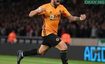 Rúben Neves celebrating his goal against Manchester United