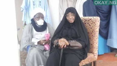 Ibraheem El-Zakyzaky and his wife, Zeenat at the Abuja aiport