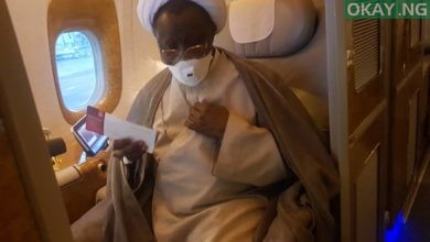 Zakzaky Board plane Okay ng 2 390x220 - El-Zakzaky aborts medical treatment in India, on his way to Nigeria