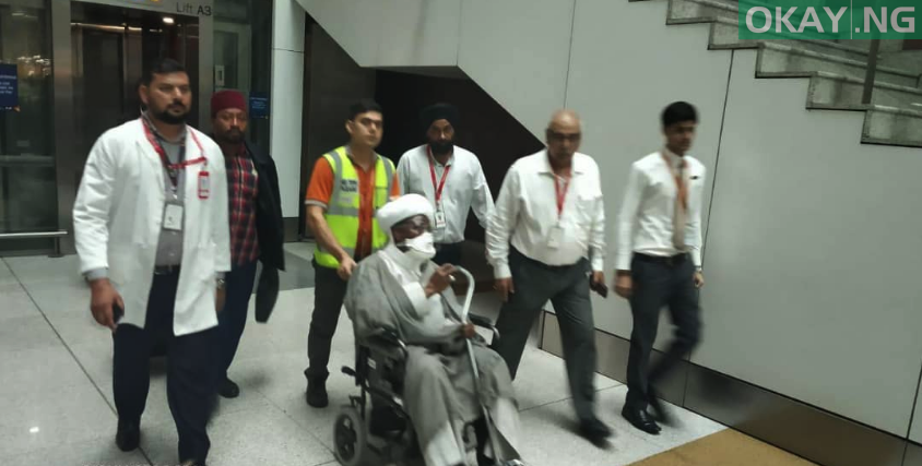 Photo of In Photos: El-zakzaky, wife land in India for medical treatment