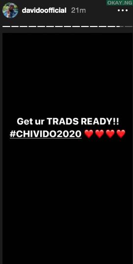 Davido Chioma Trad status - Davido announces Traditional wedding with Chioma