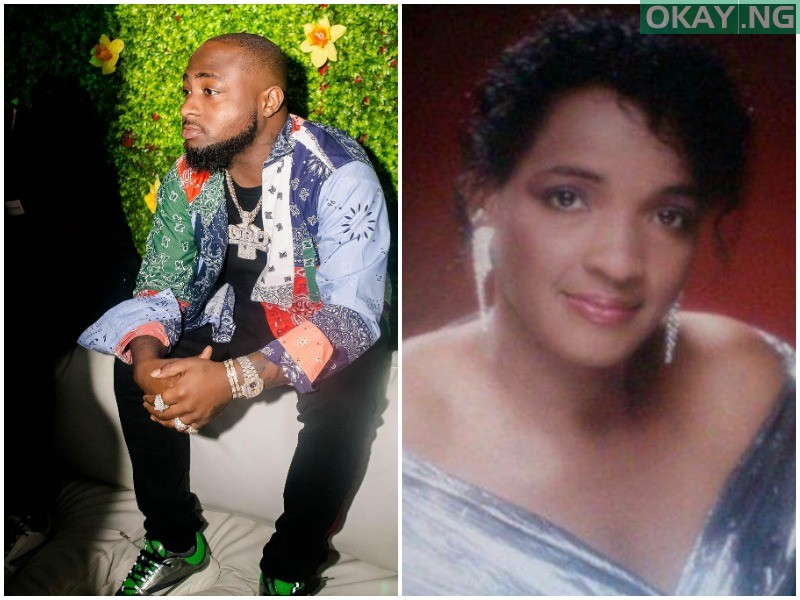 Davido and his later mother, Veronica Adeleke