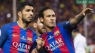Luis Suarez with former teammate, Neymar