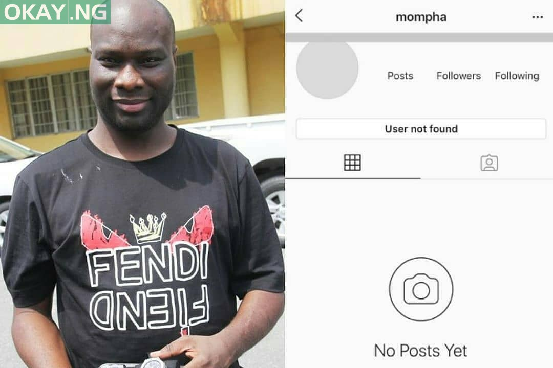 Mompha's Instagram page disappears