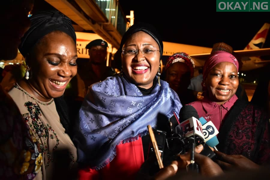 Aisha Buhari on arrival at Abuja airport