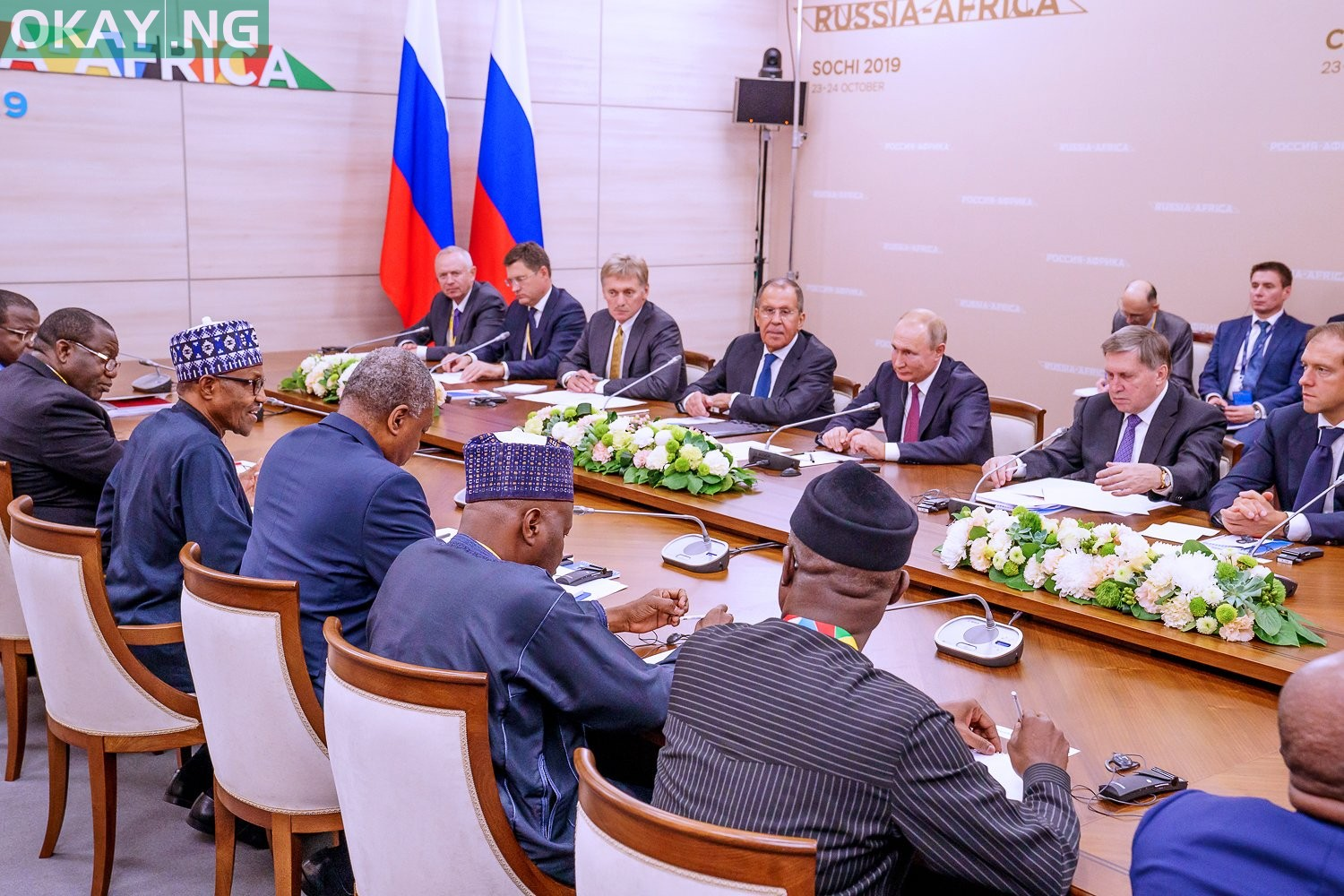President Muhammadu Buhari during a bilateral meeting with President Vladimir Putin of Russia at the sidelines of the Russia-Africa Forum in Sochi