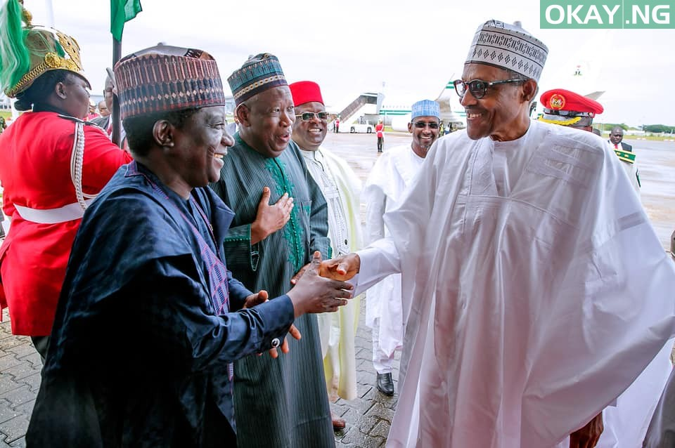 Buhari, governors depart Abuja for South Africa (Photos)