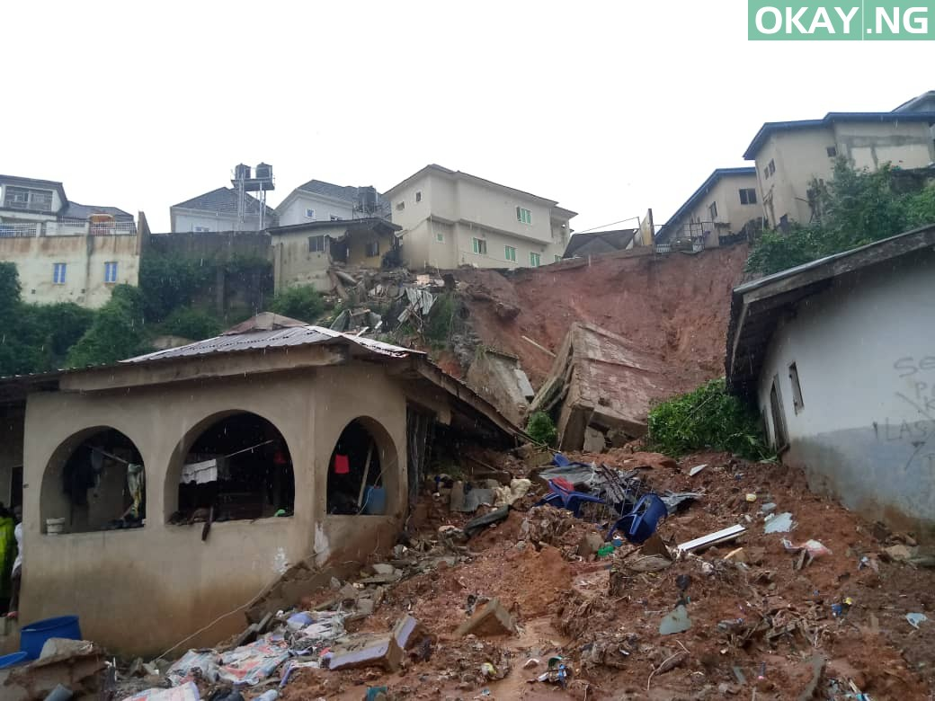 The scene of the building collapse in Magodo, Lagos