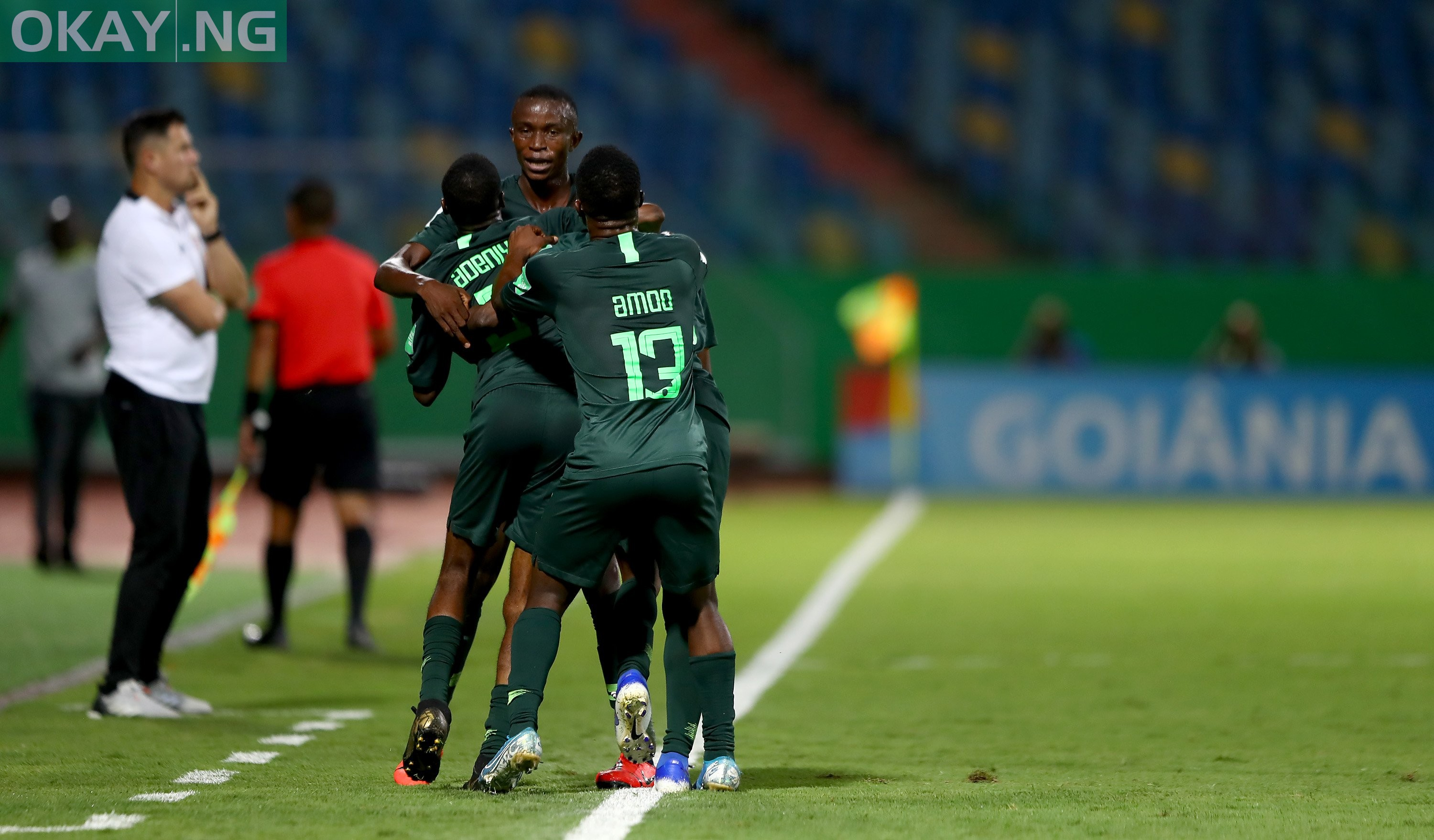 Golden Eaglets of Nigeria celebrating their goal against Hungary