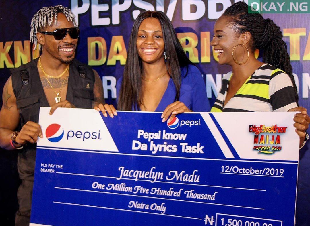BBNaija's Jackye receives N1.5 million cash prize