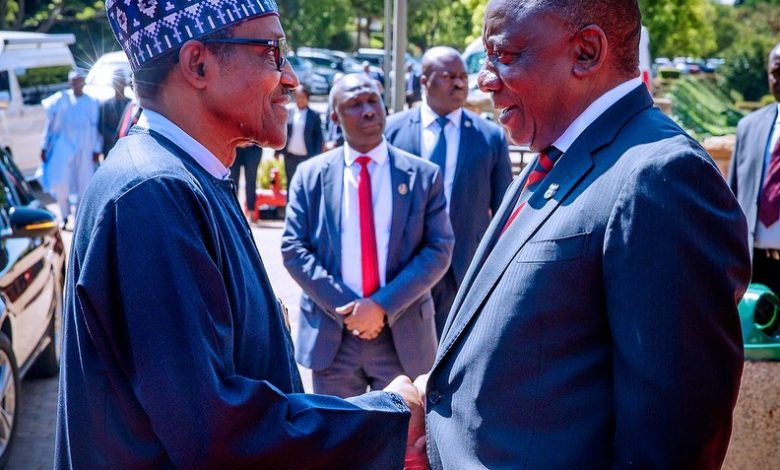 Photo of Buhari all smiles as he meets South Africa's Ramaphosa (Photos)