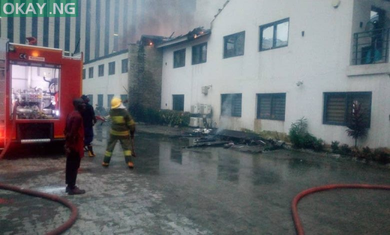 Photo of Fire guts Transcorp building in Ikoyi, Lagos (Photos, Video)