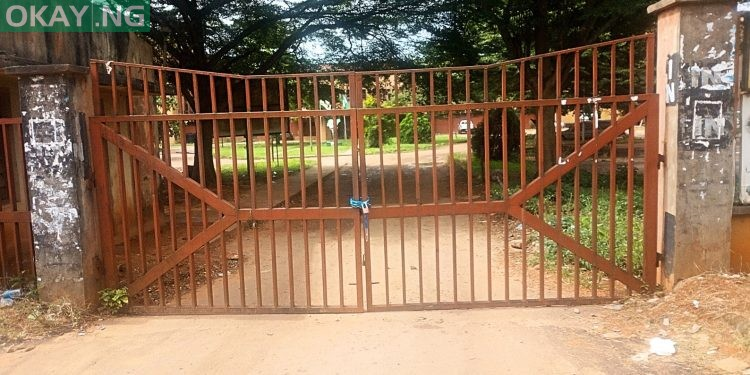 Closed gates of Federal Secretariat in Asaba
