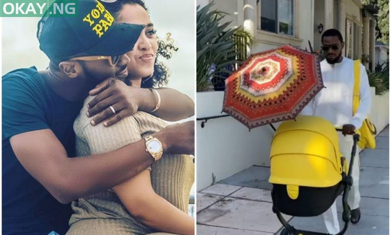 Photo of D'Banj shares video with newborn baby