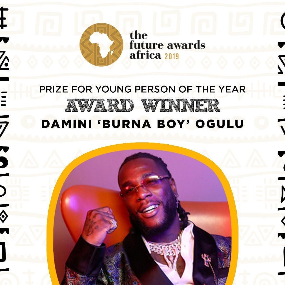 Burna Boy wins coveted prize of young person of the year