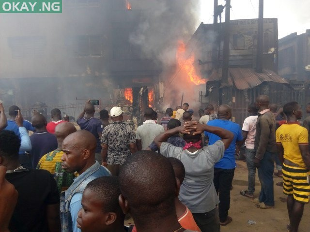 Balogun Market in Lagos on fire