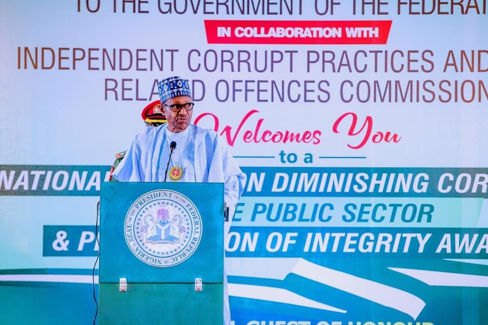 President Muhammadu Buhari speaking at the National summit on ''Diminishing Corruption in the Public Service'' in Abuja