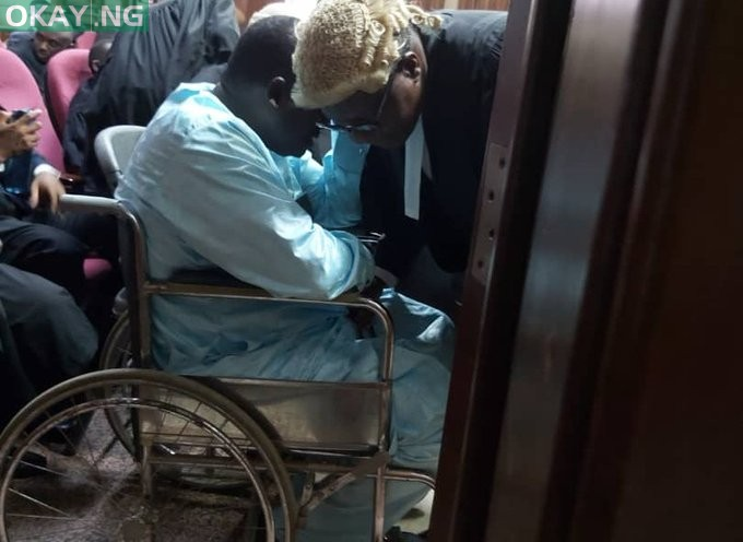 Abdulrasheed Maina in court on a wheelchair