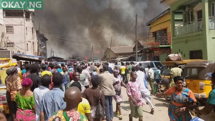Scene of the fire in Lagos