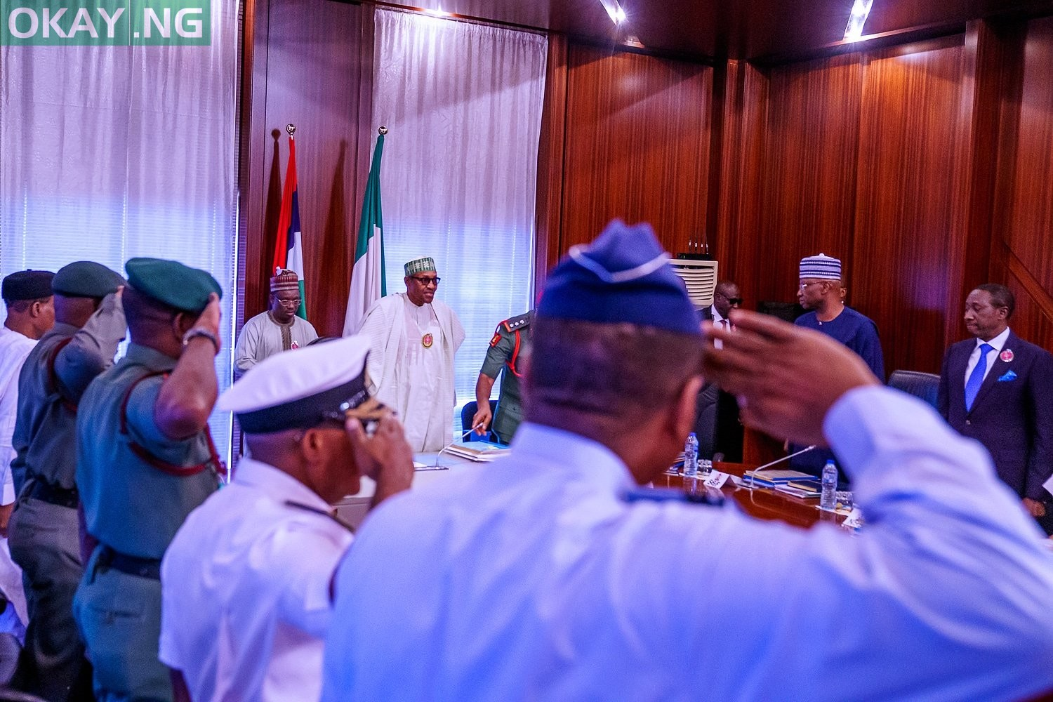 President Buhari's meeting with security chiefs inside State House, Abuja