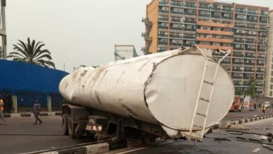 Photo of Gridlock in Lagos as diesel tanker falls