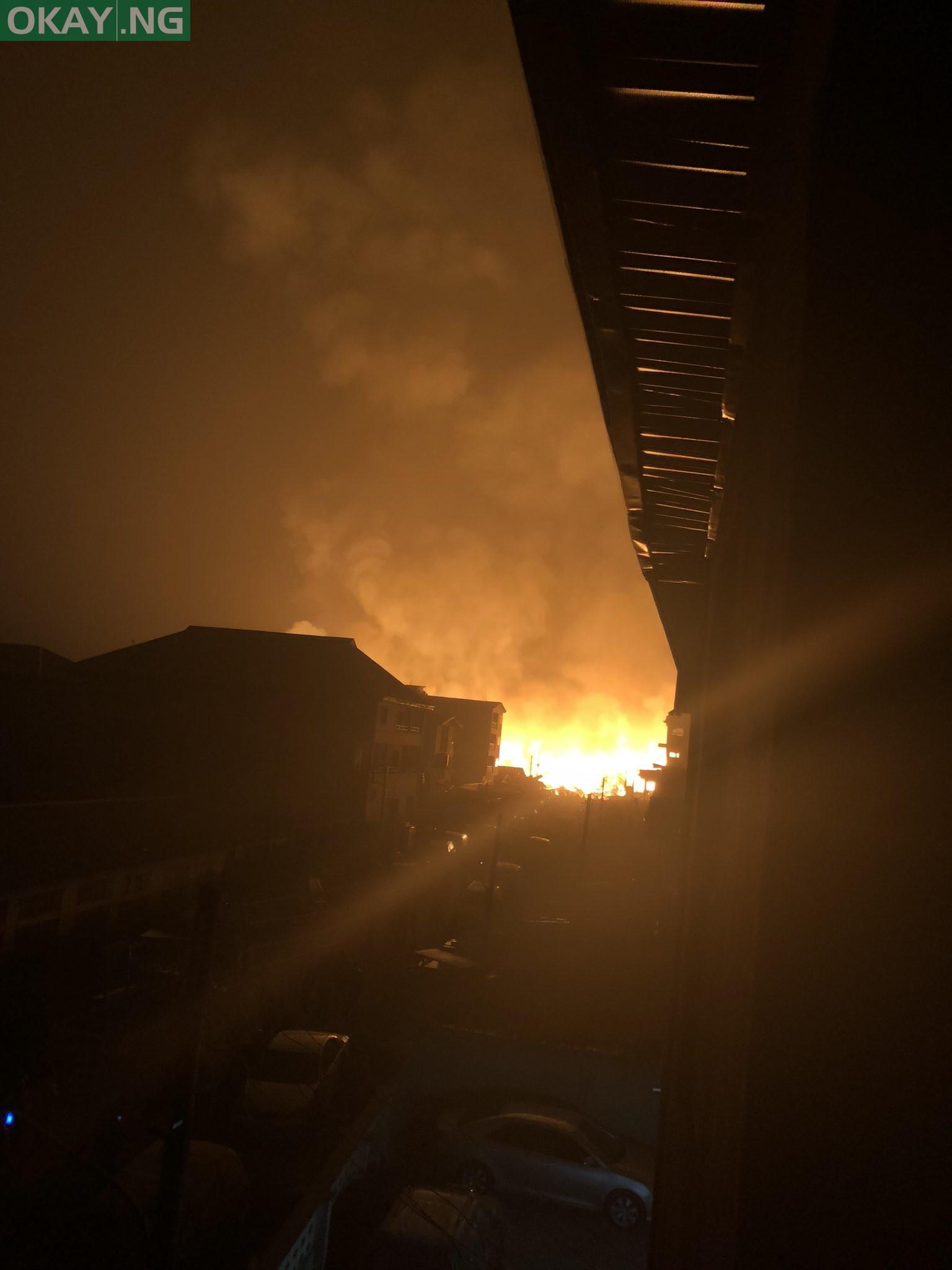 Fire at Amu timber market in Mushin