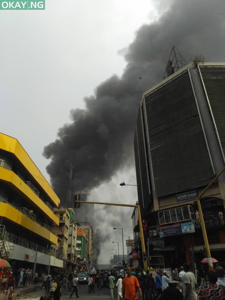 Anambra plaza on fire at Balogun market