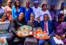 Photo of Buhari meets Anthony Joshua, Nigerians in London (Pictures)