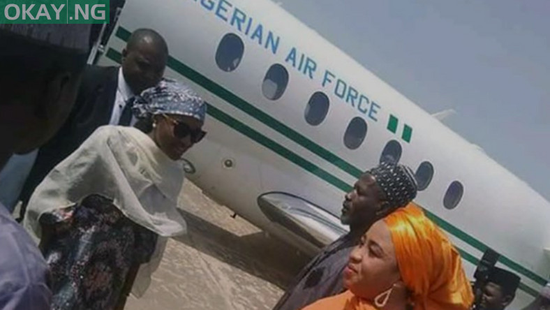 President Muhammadu Buhari's daughter, Hanan, disembarking from the presidential jet in Bauchi