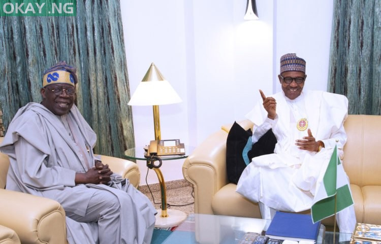 Tinubu meets Buhari inside Aso Villa