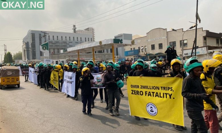 Photo of Bike-hailing firms riders hit the street to protest Okada ban in Lagos