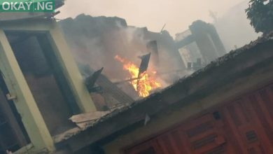 Photo of Fire guts building in Ogba, Lagos (Pictures)