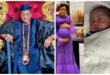 Photo of Alaafin of Oyo's youngest wife, Olori Damilola delivers baby boy