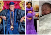 Photo of Alaafin of Oyo's youngest wife, Olori Damilola delivers baby boy