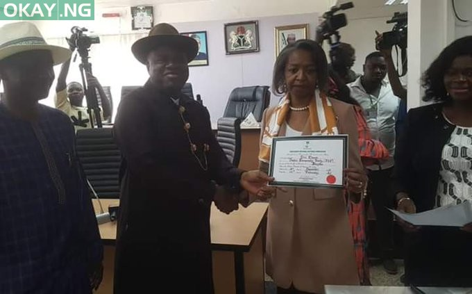 Bayelsa governor-elect, Douye Diri receives Certificate of Return from INEC