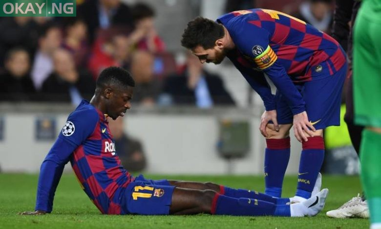 Photo of Ousmane Dembele suffers hamstring injury in training session