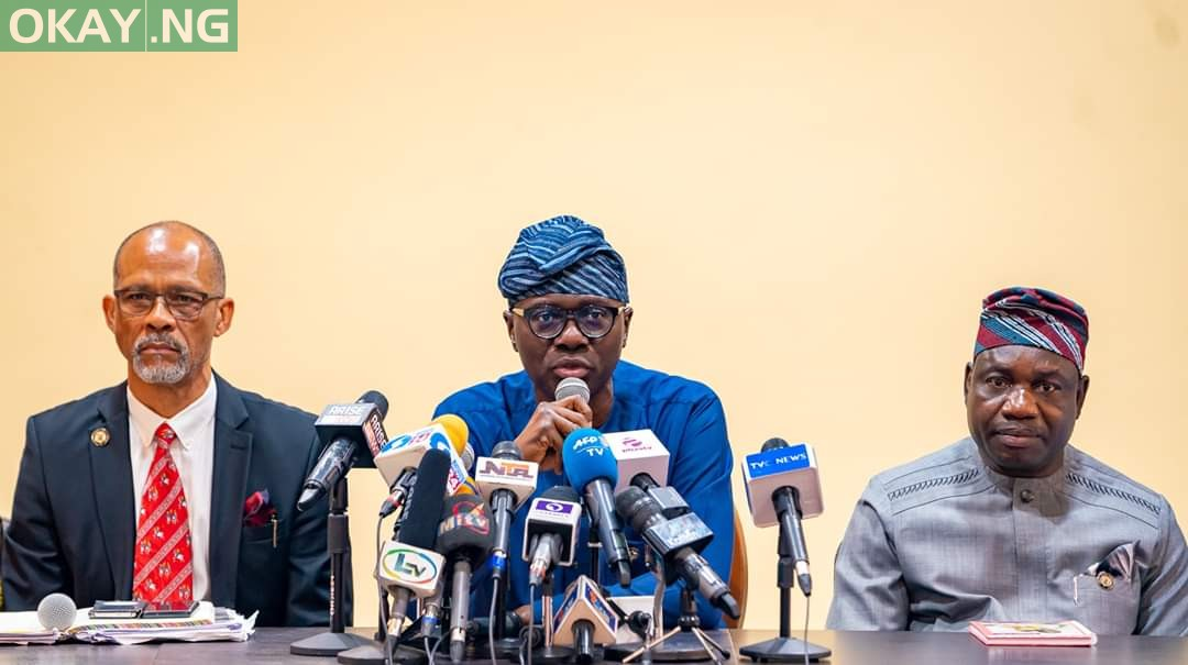 Governor of Lagos State Babajide Sanwo-Olu addressing the press on Coronavirus in the state