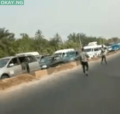 Scene of the incident along Benin-Ore road