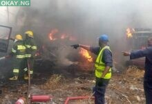 Photo of Fire guts LASTMA yard, 11 impounded vehicles destroyed